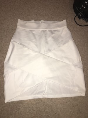 white bandage bodycon skirt