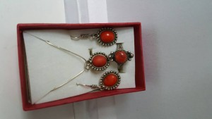 Nice set genuine Coral pearls on pure silver chain @ Excellent xmas gift