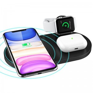 3 in 1 Wireless 10W Qi Fast Charger Station with iWatch Stand iPhone