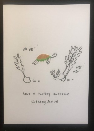 Watercoloured Turtle Pencil Sharpening card, personalised