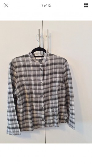 Vintage Grey/White Tartan Jaeger Flannel Shirt UK Medium