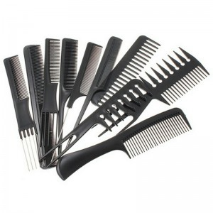 10 Hair Styling Comb Set Professional Black Hairdressing Brush Barbers