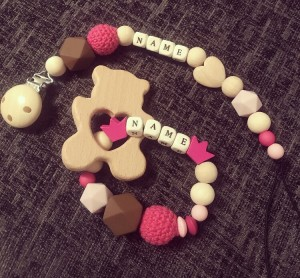 Baby girl personalised dummy clip and teether gift set
