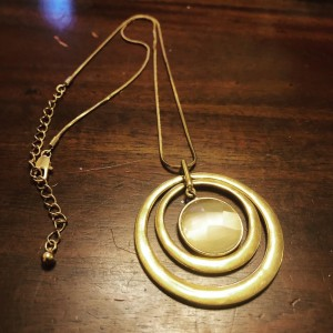 Gold Tone Double Circle Resin Long Dress Necklace Boho Party Beach Hol