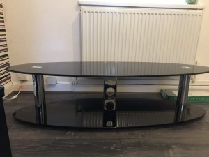 Black glass TV stand/table