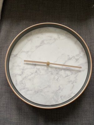 Rose Gold and Marble Effect Wall Clock