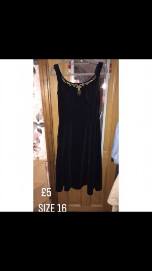 Ladies Black And Gold Velvet dress