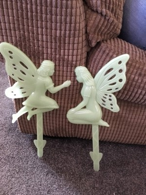 Set of two glow in the dark fairies