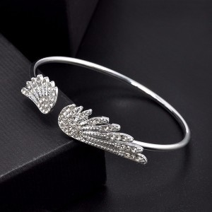 Silver wings open bangle bracelet