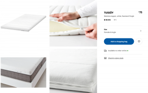 IKEA mattress topper (Single bed)+ FREE storage case *Ideal for halls*