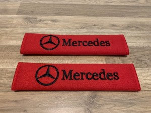 2X Seat Belt Pads Cotton Red Gifts Mercedes CLA E C Class CLK CLS GLA