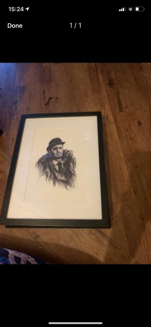 Drawing in frame king of north dressed