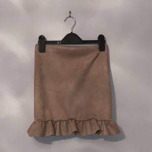 Faux suede mini frill skirt