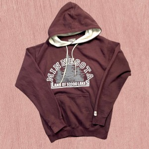 Burgundy red unisex USA spell out hoodie M