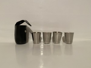 Vintage Small Stainless Steel Set Of 4 Mini Travel Cups Pocket Cup