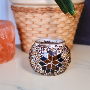 Hand-Crafted Stained Glass and Bead Mosaic Tealight Candle Holder