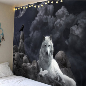 Fabric Wall Tapestry/Throw White Wolf 59 x 51 Inches Free P+P