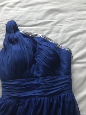 Floor length dress never worn size 10 royal blue colour price includes P&P