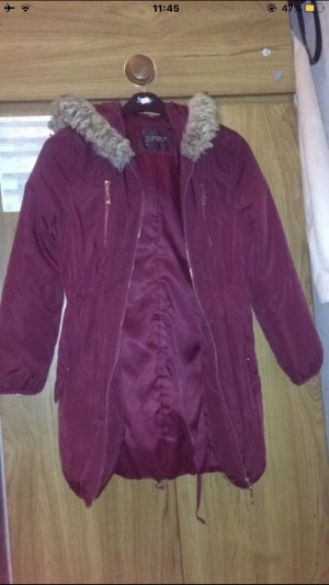 Burgundy Coat. Size 6-8