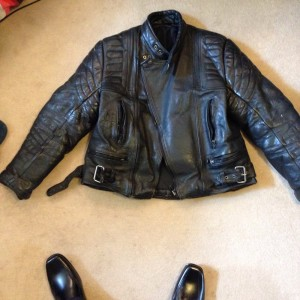 leather jacket, leather trouser, waterproof coatx2, 5 gloves& bike cover