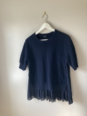 Navy cos knitted peplum blouse M