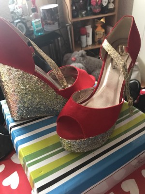 Red and gold glitter wedges worn once size 6
