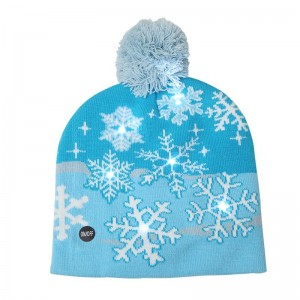 LED Light Knitted Christmas Warm Hat Snowflake Adult