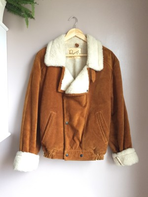 Vintage real leather and shearling jacket