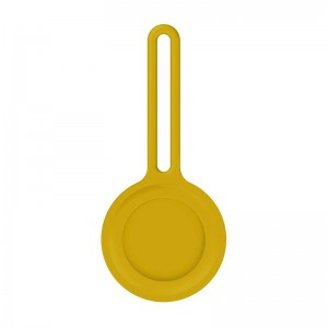 Air Tag Silicone Loop Holder Keyring Carry Case for Apple - Yellow