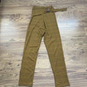 Pretty little thing mustard checkered trousers size 6.