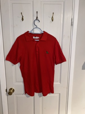 Red TOPMAN polo with embroidered green dinosaur- LARGE