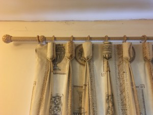 Full length curtains with pole , good condition