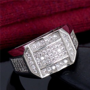 Men's diamond Ring Iced out Crystals
