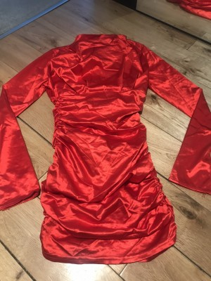 Vintage red hot satin cinched dress party size 8 retro statement