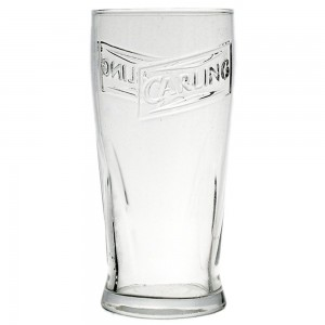 Carling Lager Beer Pint Glass - Moulded - two glasses