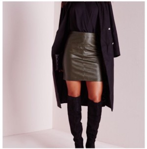 khaki green leather skirt