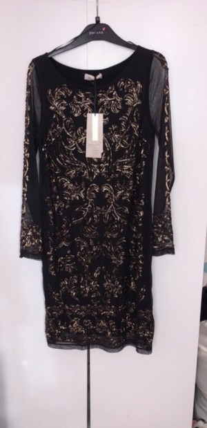 Long sleeve, gold sequinned party dress - size 12