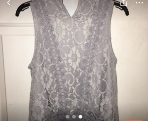 Grey lace sleeveless top