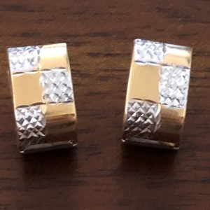 90s Modernistic 18ct ARR 750 White & Yellow Gold Textured Earrings