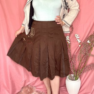 Brown y2k embroidered skirt