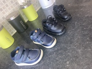 Boys trainers and Clark's walking shoes