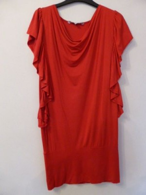 RED HERRING Cowl Neck Batwing Sleeves Red Tunic/Dress - Size 10