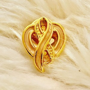 Gold Pink Heart Ribbon Swag Style Badges Funky Pin Brooch Metal Pins Y