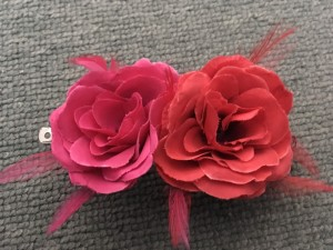 Double pink & red flower hair clip