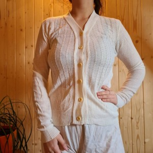 white vintage knitted cardigan