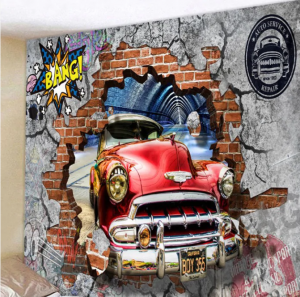 Fabric Wall Tapestry/Throw 3D Car 90 x 70 Inches Free P+P