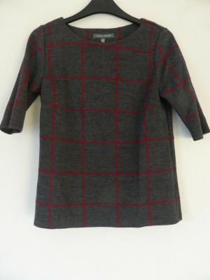 'Laura Ashley' Grey and Red Check Top - Size 8