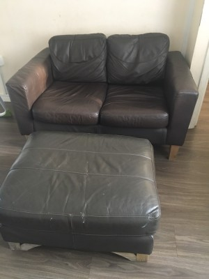 Brown Sofa and footstool... Pick up Sipson UB7