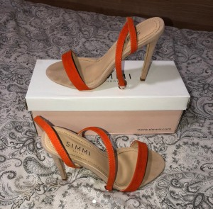 SIMMI Shoes London • Orange and cream suede strap-heels Size 5/38