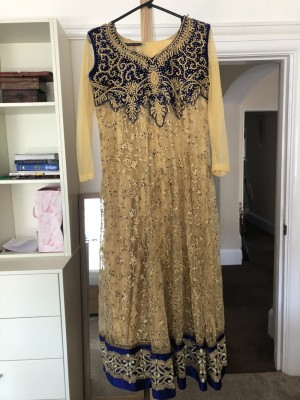 Navy blue and gold Asian dress